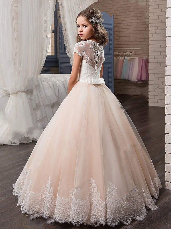 Ball Gown V-neck Short Sleeves Lace Floor-Length Tulle Flower Girl Dresses