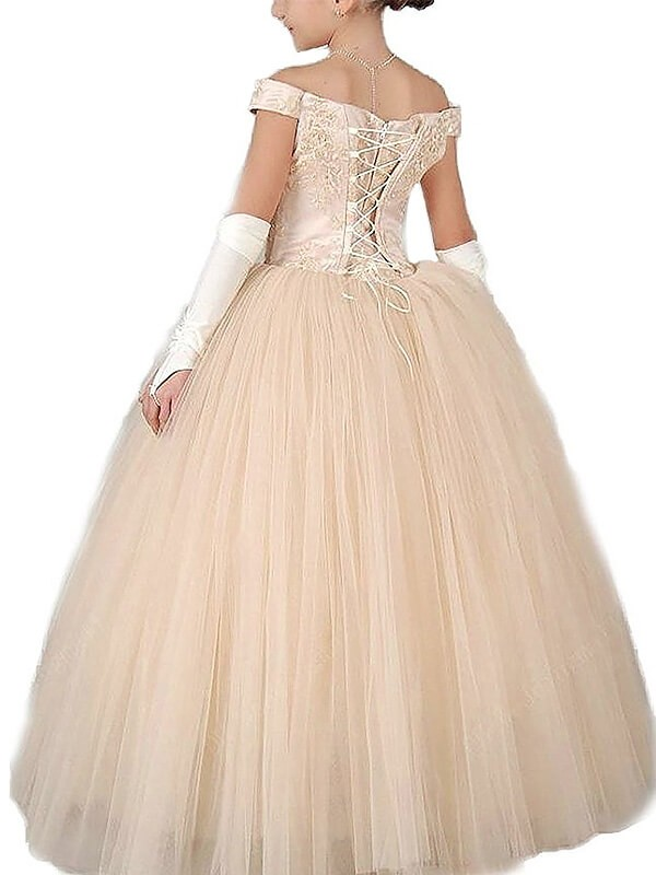 Ball Gown Off-the-Shoulder Sleeveless Applique Floor-Length Tulle Flower Girl Dresses