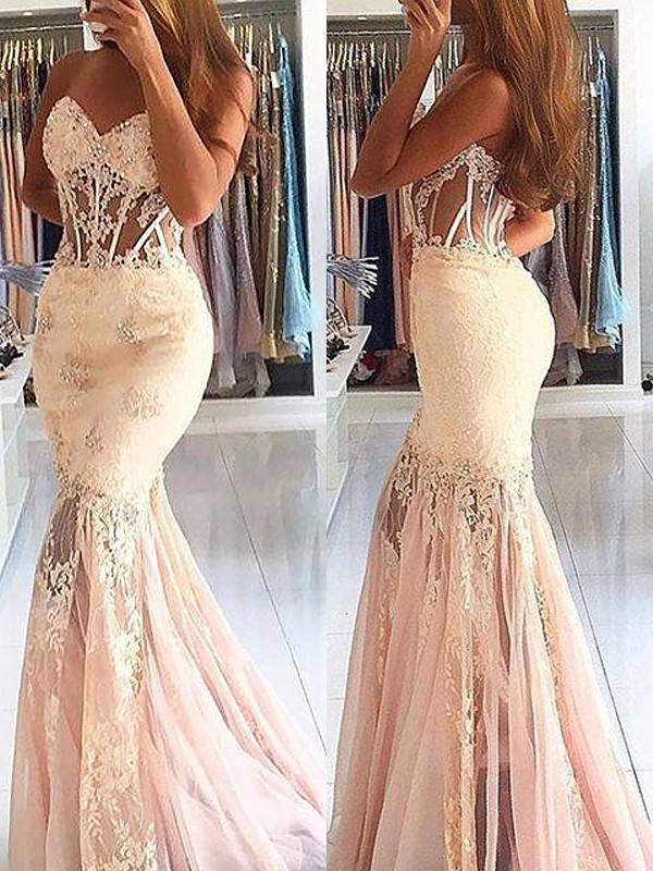 Mermaid Sleeveless Sweetheart Tulle Lace Sweep/Brush Train Dresses