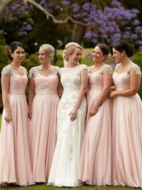 A-Line/Princess Short Sleeves Square Beading Chiffon Floor-Length Bridesmaid Dresses