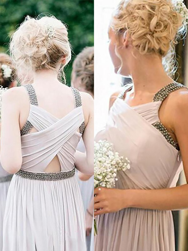 A-Line Straps Sleeveless Chiffon Floor-Length Beading Bridesmaid Dresses