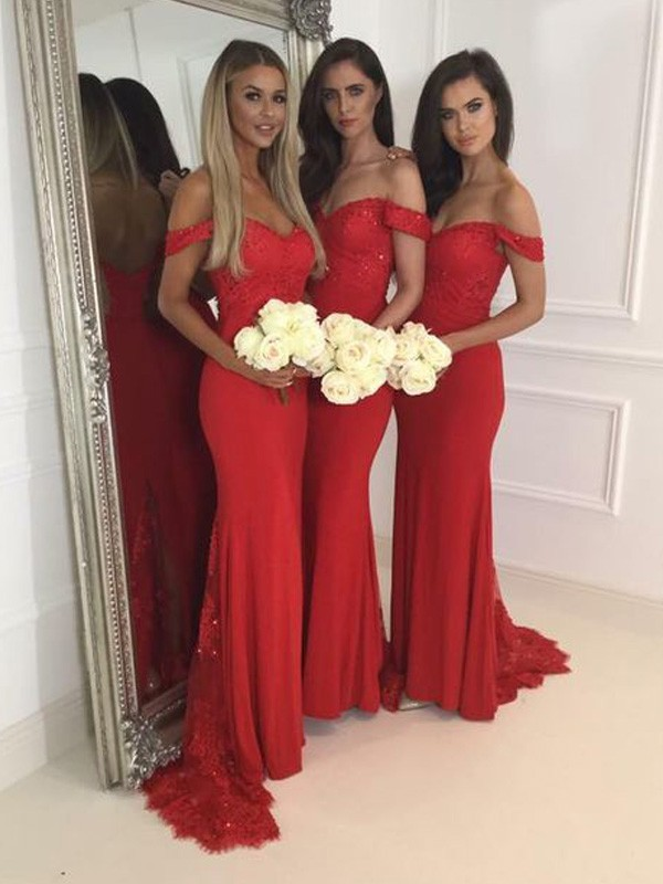 Trumpet/Mermaid Off-the-Shoulder Sleeveless Jersey Floor-Length Bridesmaid Dresses