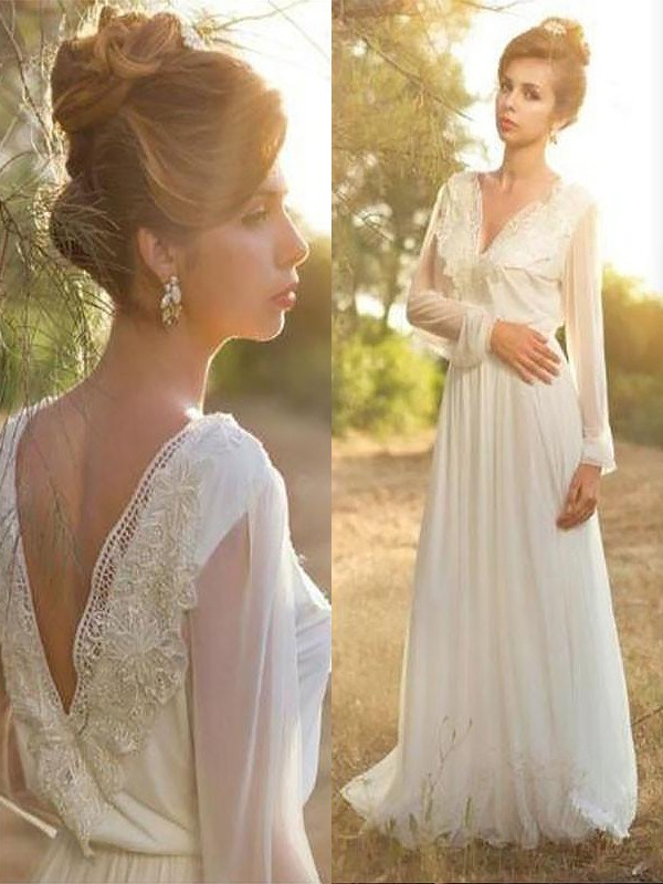 A-Line V-neck Long Sleeves Lace Chiffon Sweep/Brush Train Wedding Dresses