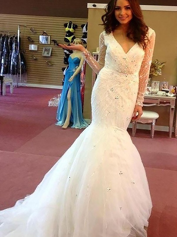 Mermaid Beading Tulle Long Sleeves Court Train V-neck Wedding Dresses