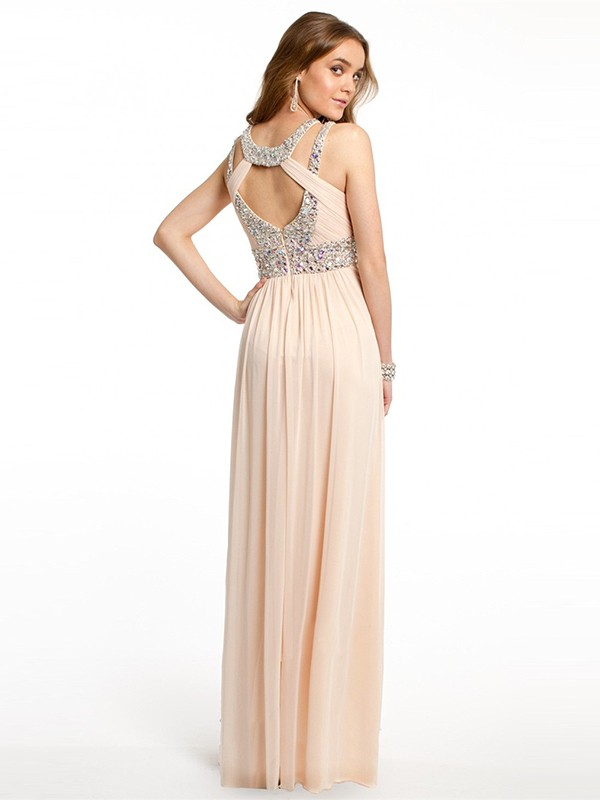 A-Line/Princess Bateau Beading Sleeveless Chiffon Floor-Length Dresses