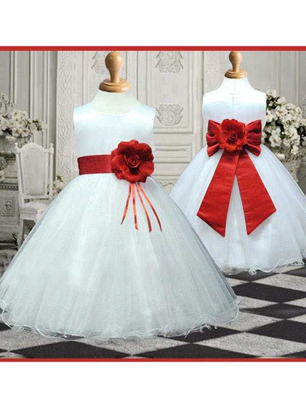 A-line Scoop Sleeveless Hand-made Flower Ankle-length Organza Flower Girl Dress