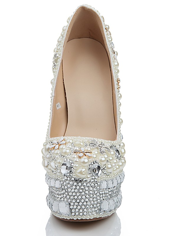 Women's Stiletto Heel Platform Patent Leather Closed Toe With Pearl White Wedding Shoes