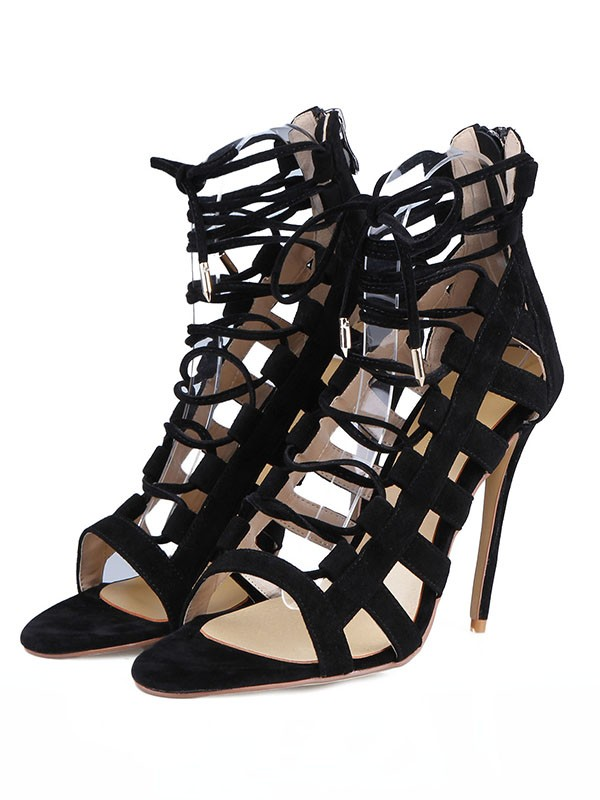 Women's Suede Stiletto Heel Peep Toe With Buckle Sandals Shoes