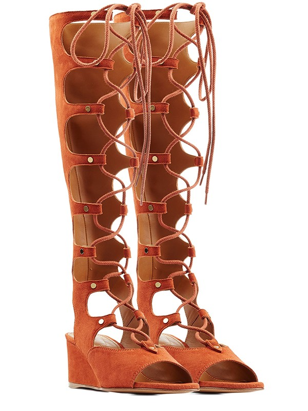 Women's Wedge Heel Peep Toe Suede With Lace-up Sandal Knee High Orange Boots