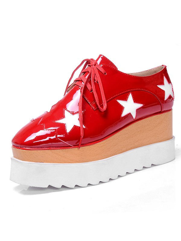 Women's Patent Leather Platform Closed Toe Fashion Sneakers Red Fashion Sneakers