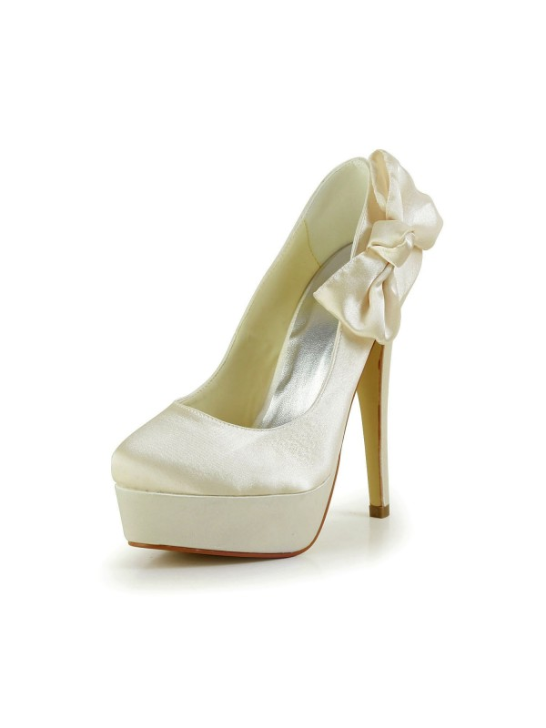 Women's Satin Stiletto Heel Closed Toe Platform Champagne Wedding Shoes With Bowknot