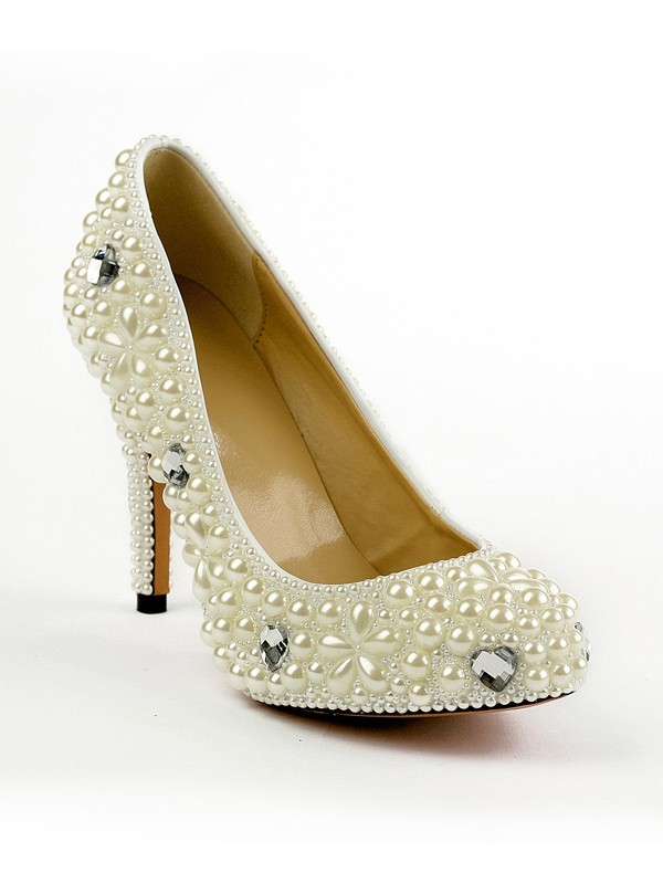 Women's Patent Leather Closed Toe Stiletto Heel Platform With Pearl Ivory Wedding Shoes