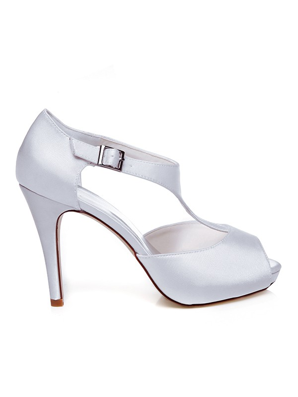 Women's Satin Peep Toe Buckle Stiletto Heel Wedding Shoes