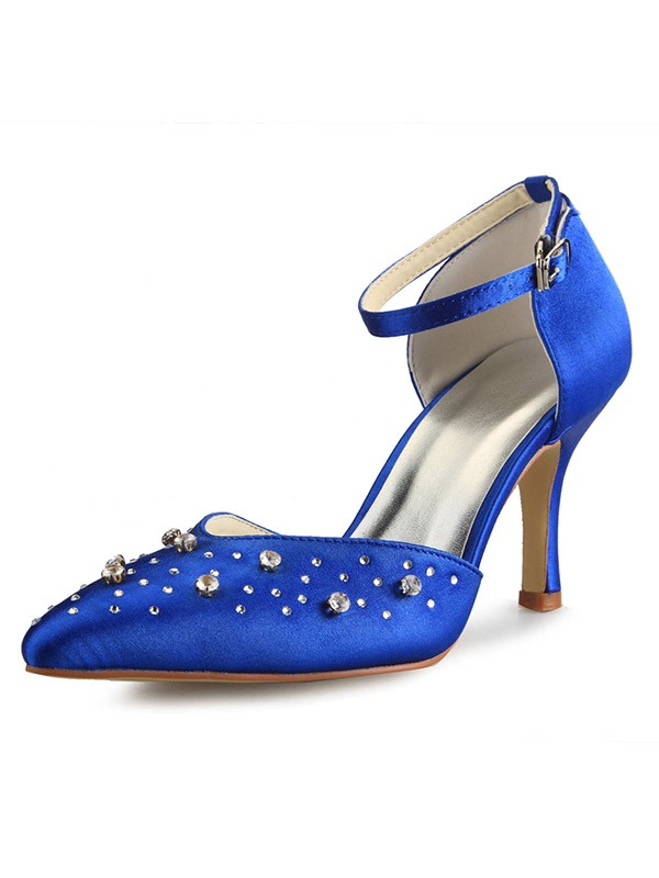 Women's Satin Cone Heel Mary Jane Closed Toe With Rhinestone High Heels