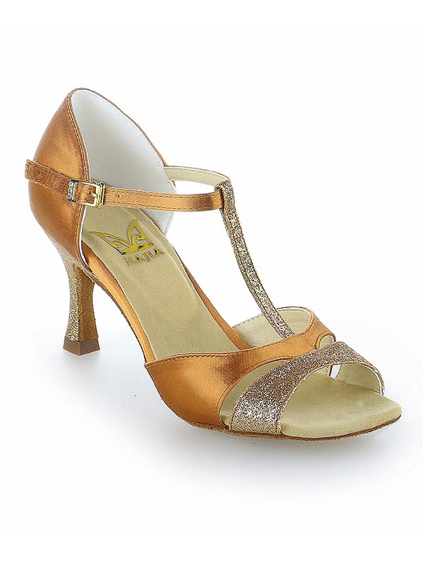 Women's Satin Peep Toe Buckle Stiletto Heel Dance Shoes