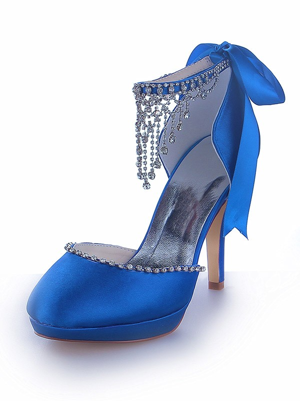 Women's Mary Jane Satin Platform Closed Toe Cone Heel With Rhinestone Platforms Shoes