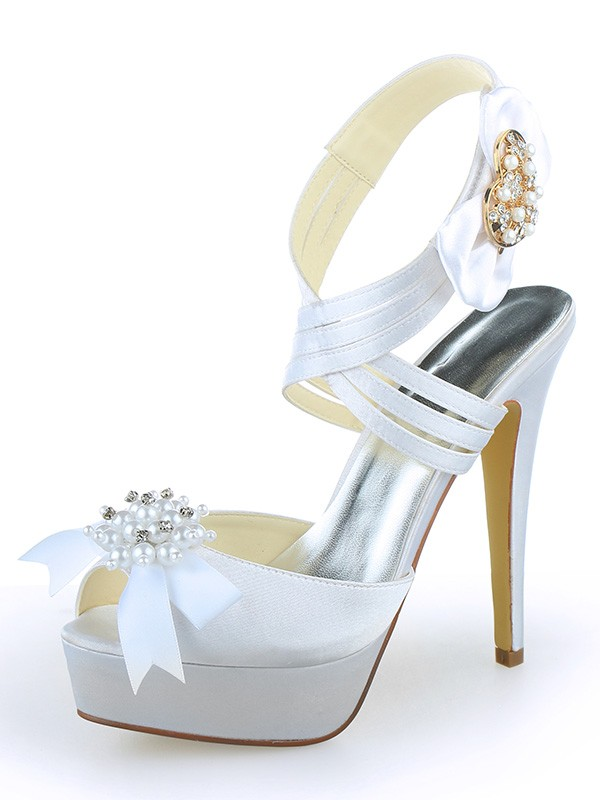 Women's Satin Peep Toe Platform Stiletto Heel With Pearl White Wedding Shoes