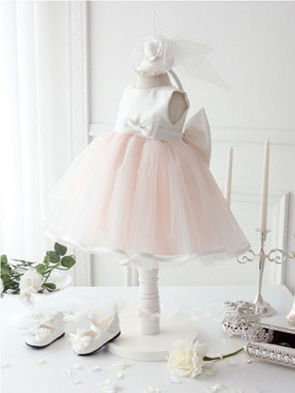 Ball Gown Jewel Knee-Length Organza Flower Girl Dress